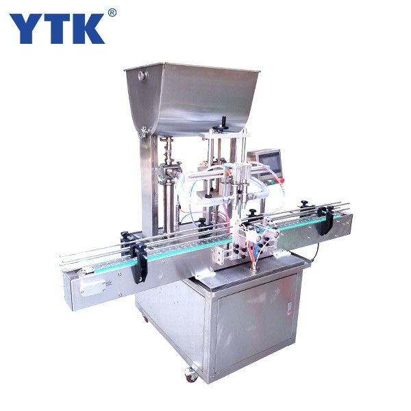 Straight Automatic 2-head  paste filling machine with conveyor PLC control