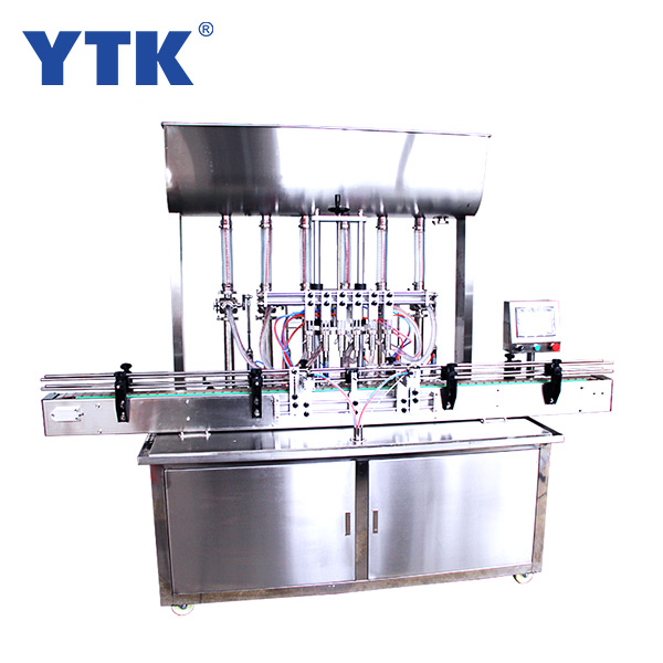 Straight Automatic 6-head  paste filling machine with conveyor PLC control